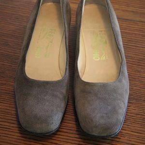 Salvatore Ferragamo suede block heels